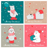 Set with hand drawn polar bears. Merry Christmas greetings with cute bears.