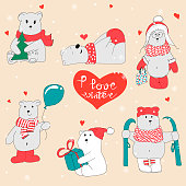 Set with hand drawn polar bears. Merry Christmas greetings with cute bears.