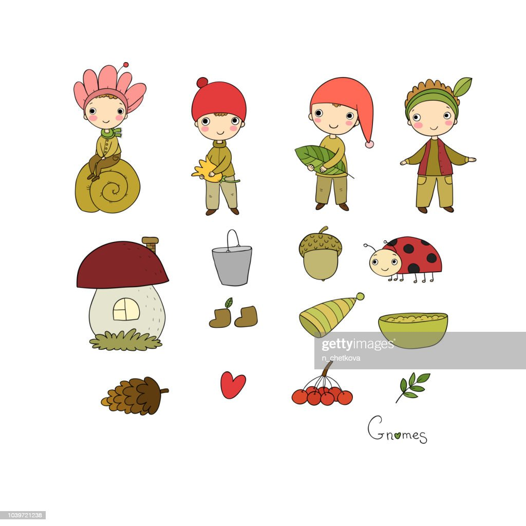 Set with little cute gnomes. Forest elves.