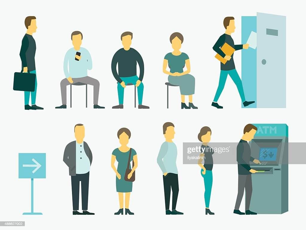 Set with people queue the ATM vector illustration