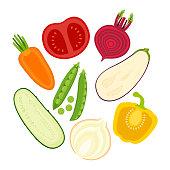 set with sliced vegetables