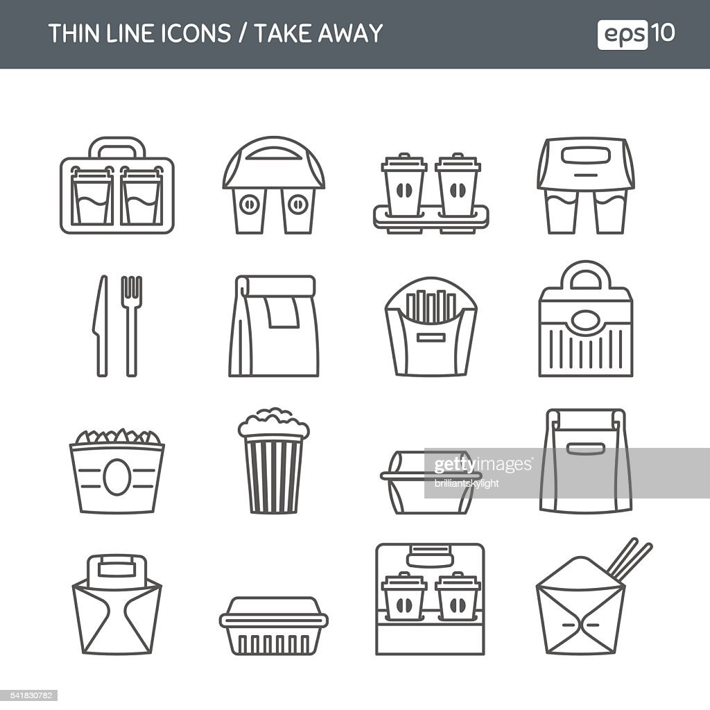 Set with thin line icons. Fast food. Take away