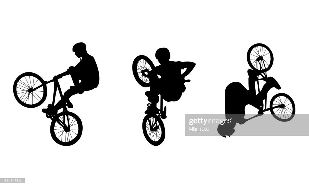 Set with three cyclists doing stunts on white background