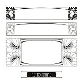 Set with vector frames in Art Nouveau or Modern style.