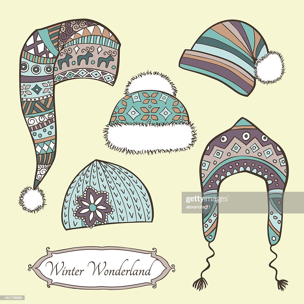 Set with vintage winter caps