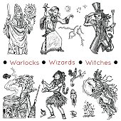 Set with warlocks and magicians