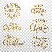 Set with Xmas inscription on a transparent background