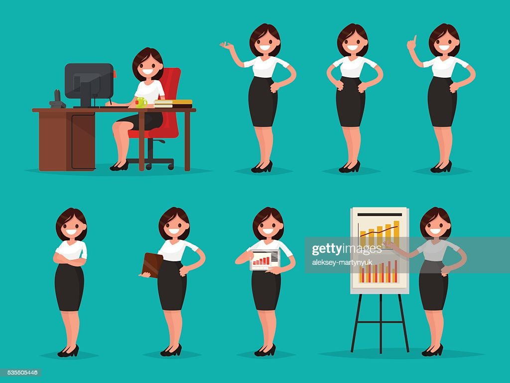 Set woman office worker in various situations. Vector illustration