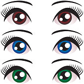 set Women eyes with long eyelashes. Blue, brown, green. Vector