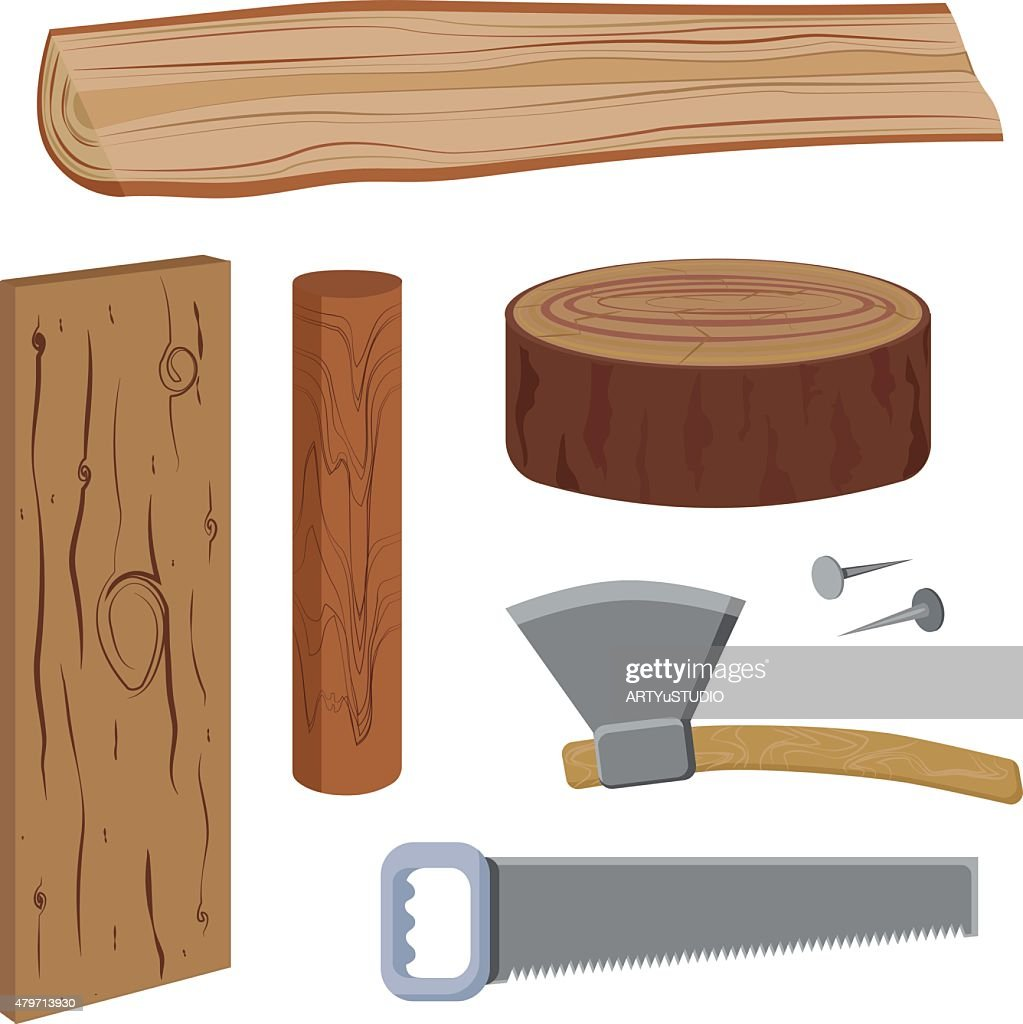 Set Wood And Tools Vector Art Getty Images