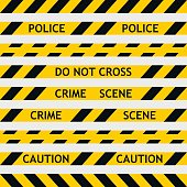 set yellow police tape enclosing for forensics