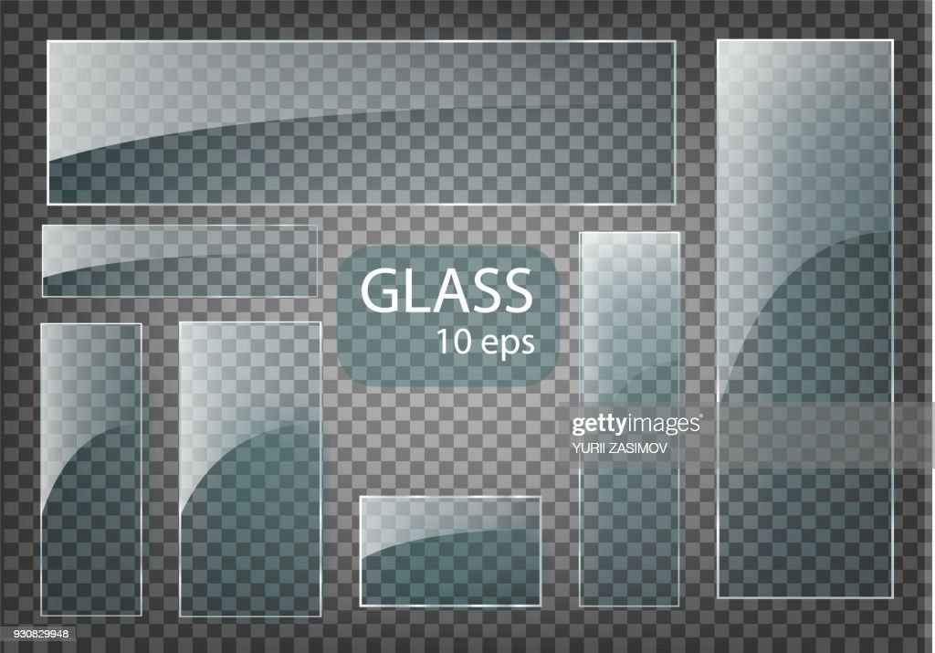 Seth Empty transparent glass plates. Vector template, banner layout with copy space. Photo realistic texture with backlight and glow on transparent.