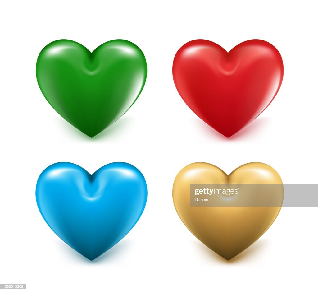 Sets of 3D Colorful Mesh Hearts