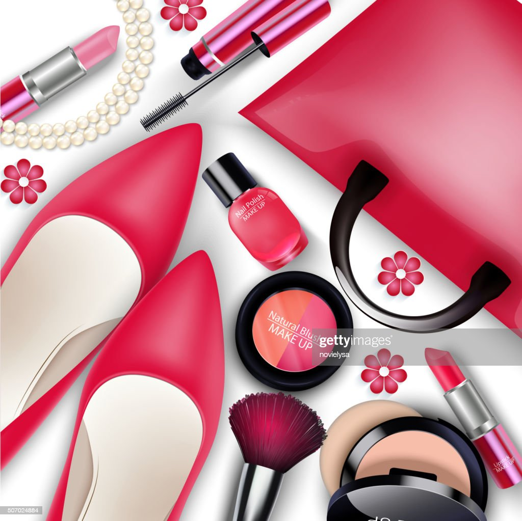 Sets of cosmetics on isolated background