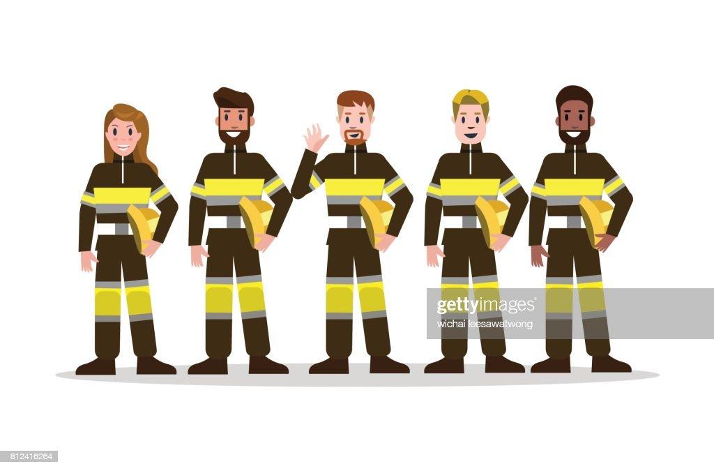 Sets of Firefighting team in black uniform.