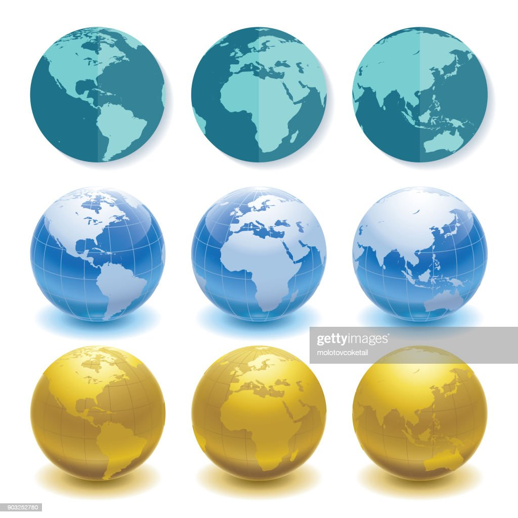 3 sets of globes in different styles and angles : stock illustration