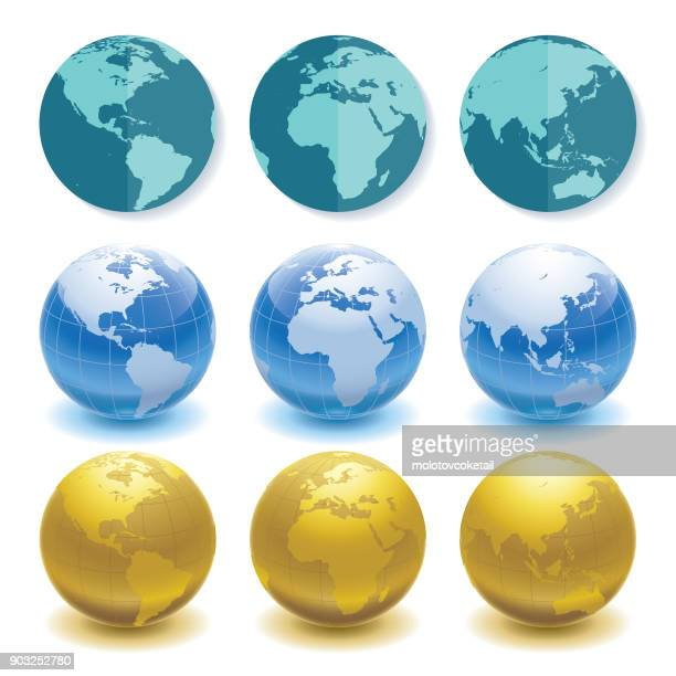 illustrazioni stock, clip art, cartoni animati e icone di tendenza di 3 sets of globes in different styles and angles - pianeta