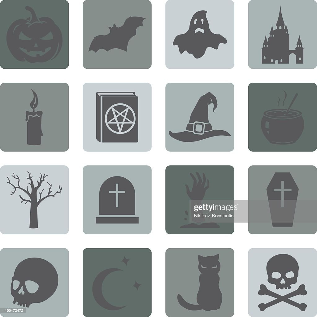 Sets of icons one would associate with Halloween