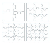Sets of puzzle pieces vector illustration. 2 x 2, 3 x 3, 4 x 4. 5 x 5 jigsaw game outline pieces picture