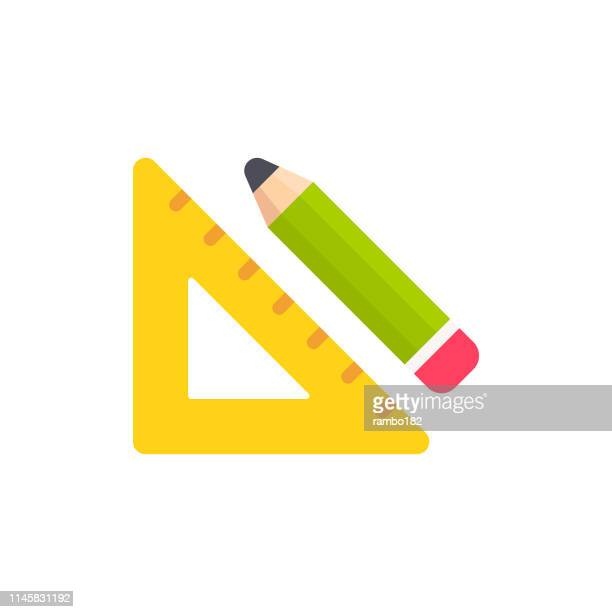 setsquare and pencil flat icon. pixel perfect. for mobile and web. - centimetre stock illustrations