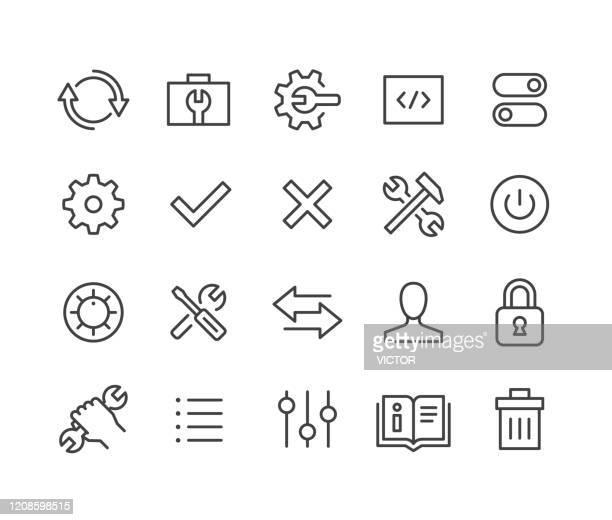 ilustraciones, imágenes clip art, dibujos animados e iconos de stock de iconos de configuración - classic line series - caja de herramientas