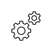 Settings, Gear Line Icon. Editable Stroke. Pixel Perfect. For Mobile and Web.