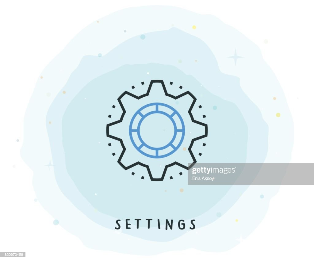 Settings Icon with Watercolor Patch : stock illustration