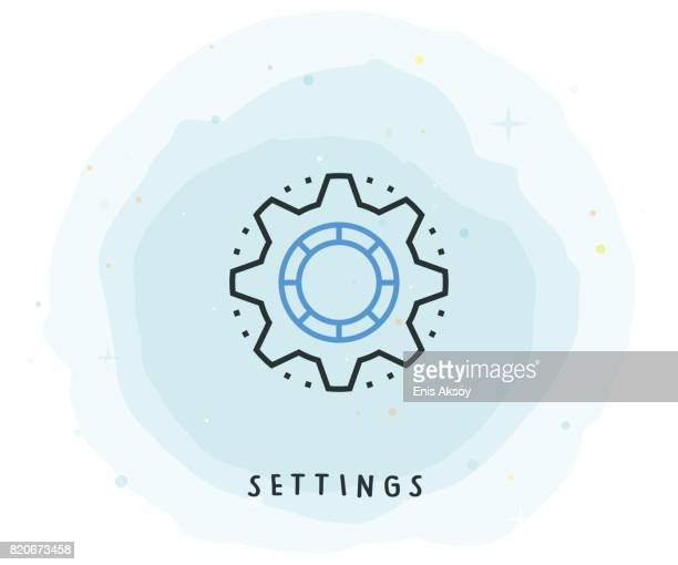 Settings Icon with Watercolor Patch