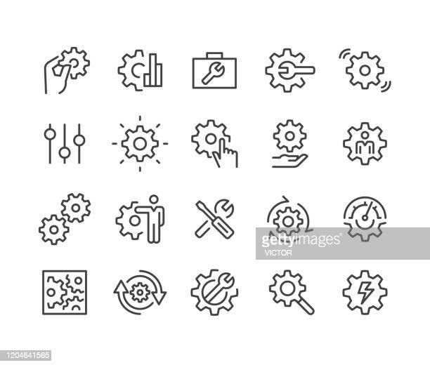 ilustraciones, imágenes clip art, dibujos animados e iconos de stock de iconos de configuración - classic line series - herramienta de trabajo