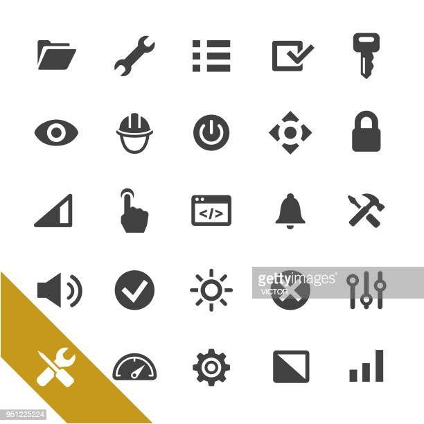 settings icons - select series - start button stock illustrations, clip art, cartoons, & icons