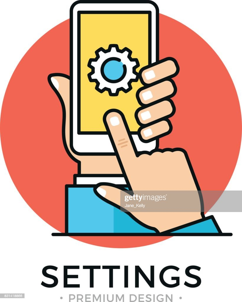 Settings on smartphone screen. Hand holding cellphone, user touching gear icon, cogwheel, cog icon. Mobile app settings menu, software update, fixing, downloading, installing new OS concepts. Flat line design vector illustration
