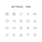 Settings thin icon set