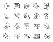 Setup and Settings Icons Set. Collection of simple linear web icons such Installation, Settings, Options, Download, Update, Gears and others and others. Editable vector stroke