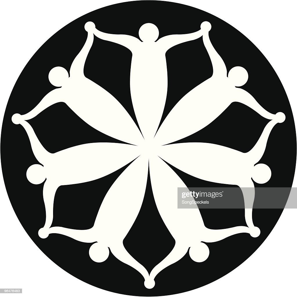 Seven Abstract Figures (people) circular icon