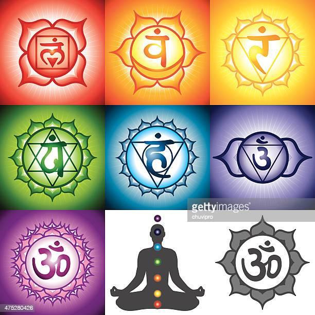 illustrations, cliparts, dessins animés et icônes de sept chakras ensemble - chakra