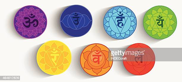 bildbanksillustrationer, clip art samt tecknat material och ikoner med seven chakras - chakra