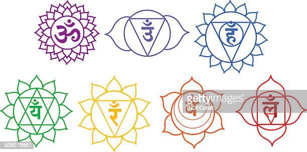 seven chakras - chakra stock illustrations, clip art, cartoons, & icons