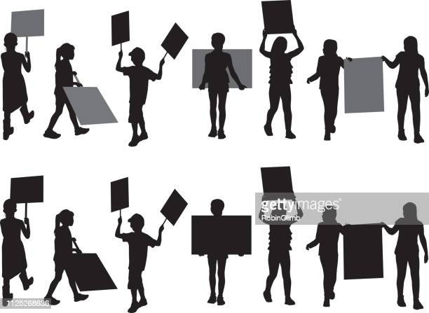 seven children protesting silhouettes - holding stock illustrations, clip art, cartoons, & icons