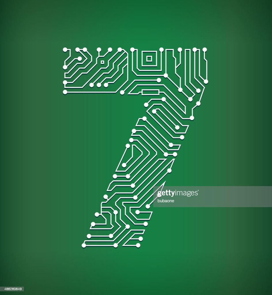 Seven Circuit Board Royalty Free Vector Art Background Design Over Green Illustration