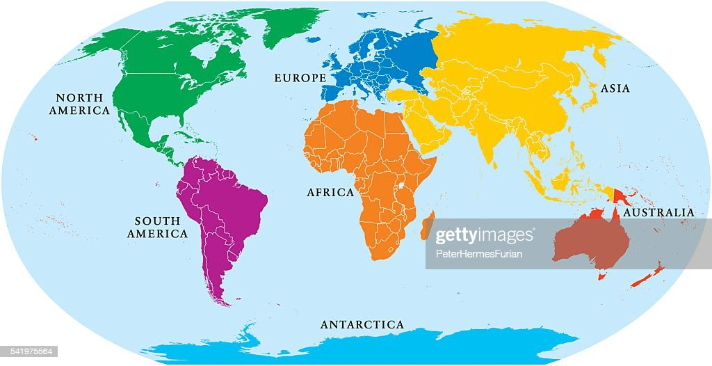 Seven Continents World Map