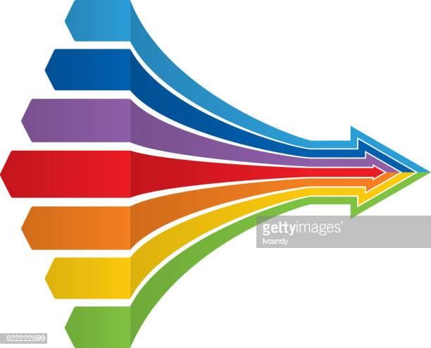 7 つの矢印 - 合併点のイラスト素材/クリップアート素材/マンガ素材/アイコン素材