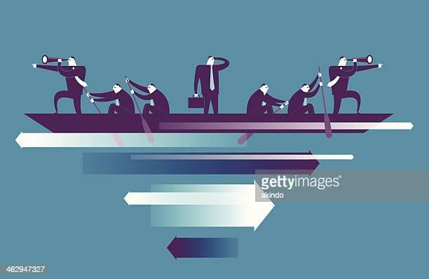 ilustraciones, imágenes clip art, dibujos animados e iconos de stock de siete de los hombres en bote con las flechas que aparecen a continuación - deporte de competición