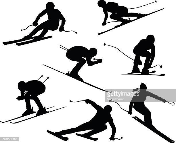 seven skiers silhouettes - motorcycle helmet isolated stock illustrations, clip art, cartoons, & icons