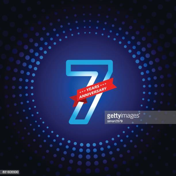 seven years anniversary icon with blue color background - 6 7 years stock illustrations
