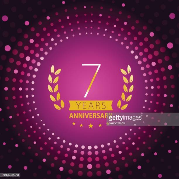 Seven years anniversary icon with purple color background