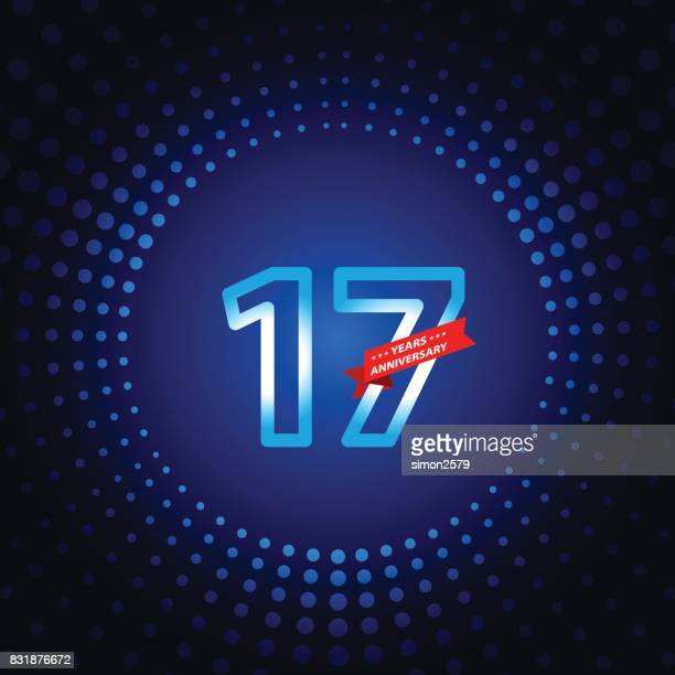 seventeen years anniversary icon with blue color background - 16 17 years stock illustrations