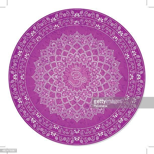 seventh chakra decorative - chakra stock illustrations, clip art, cartoons, & icons