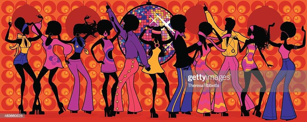 1970 discoteca festa : Ilustração