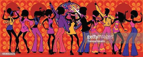 seventies disco party - dancing stock illustrations, clip art, cartoons, & icons