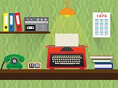 seventies retro work place with old typewriter, vintage wallpaper background